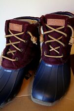 Sperry Top Sider Women's Shoes Saltwater Quilted Duck Boots Navy Maroon- 7 NEW