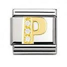 Genuine NOMINATION 18k Gold CZ LETTER P Zirconia Link 030301 16 cj FREE DELIVERY