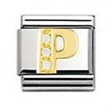 Genuine NOMINATION 18K GOLD CZ lettera P Zircone LINK 030301 16 CJ consegna gratuita