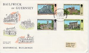 First day cover, Guernsey, Scott #141-144, historical buildings, 1976