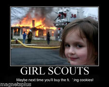 HUMOROUS GIRL SCOUTS BURNING HOUSE MAN CAVE TOOL BOX LOCKER BEER FRIDGE MAGNET