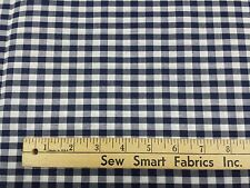 """Poly-Cotton Blend: Navy and White Gingham Check: 45""""W, 3.5 yd. Piece"""