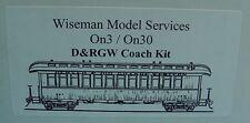 On3/On30 WISEMAN SM-103 D&RGW OPEN PLATFORM COACH PASSENGER CAR KIT