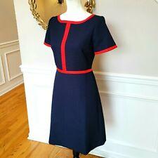 🆕️ J Crew Matelasse Sheath Career Dress Size 6 Navy Blue Red Contrast Piping