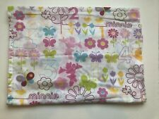 Minnie Mouse Flat Sheet Toddler Bed Numbers Butterflies Flowers Punk Purple EUC