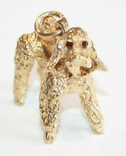 Gorgeous Solid 9ct Gold Poodle Dog Charm Stone Set Eyes 8.2 Grams