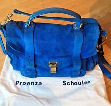 Proenza Schouler Medium Suede Blue Satchel Bag Retail $1780