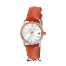 NEW KENNETH COLE WATCH for Women * Orange Leather Band w/Date Window * KC2816
