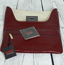 Hobo International Melia Envelope Clutch Garnet Red Crinkled Patent Leather