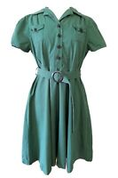 LINDY BOP Button Up Shirt Dress 50s Swing Green Land Girl Rockabilly, Size UK 18