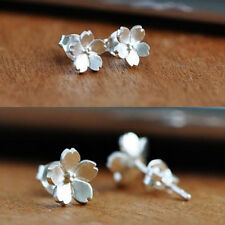 Fashion Cute Chic Women Lady 925 Sterling Silver Flower Ear Stud Earrings Gift