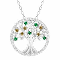 Tree of Love Pendant with Green CZ and Created White Sapphire in Sterling Silver