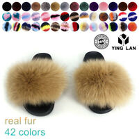 US WOMEN SLIP ON FLUFFY REAL FOX FUR FLAT SLIPPERS SLIDERS FLIP FLOPS SHOES SIZE