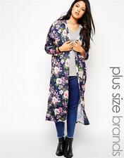BNWT NEW LADIES CLUB L LONGLINE CARDIGAN KIMONO SIZE L 16 18 20 BLUE FLORAL ASOS