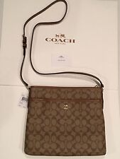 Coach 58297 Signature File Bag Crossbody Handbag Khaki / Saddle Purse