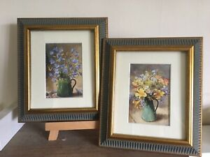 Fab Pair Vintage/country Style Floral Pics In Decorative Green/gold Frames 12x10