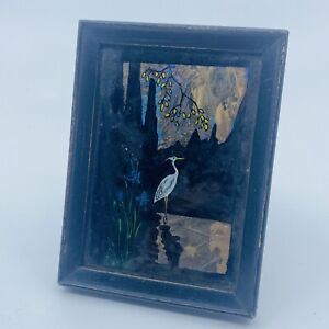 Antique Art Deco Small Butterfly Wing Picture Heron Stork Scene