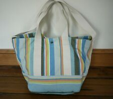 COLDWATER CREEK 100% Cotton Canvas Candy Stripe Tote Book Bag Hobo Purse
