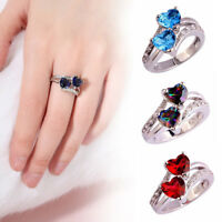 Heart Cut Rainbow & White Topaz Gemstone Silver Ring Size 6 7 8 9 10 Jewelry