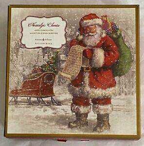 Pottery Barn Nostalgic Santa SET of 4 Appetizer Plates NEW in BOX