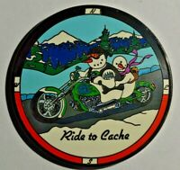 Geocoin Ride to Cache, Live to Cache - Snowmen on a Motorcycle
