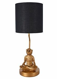 Table Desk Lamp Monkey Lotus Position Light Gold Yoga 52cm Bedside Jungle