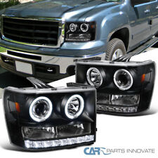 For GMC 07-14 Sierra 1500 2500 3500 HD SMD LED Halo Black Projector Headlights