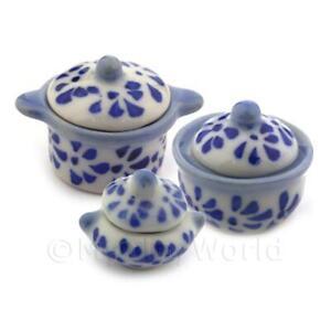 Miniatura per Casa Delle Bambole Blu a Macchie Ceramica da Portata Pentola Set