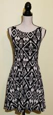 PINK Victorias Secret Medium Stretch Fitted Dress Abstract Black White Tribal M