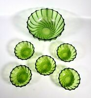 6x Bowl, Green,  Glassware Set, 5 Small, 1 Large, Vintage,  Fruit, Salad