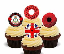 Remembrance Day / Poppy Edible Cup Cake Toppers, 24 Precut Fairy Bun Decorations