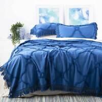 Park Avenue Moroccan Tufted Cotton Chenille Blue Coverlet Set Queen King Size