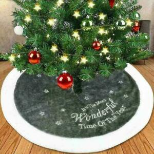 Round Christmas 90cm Tree Skirt Base Floor Mat Cover Home Party Decor Xmas Gift