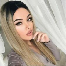Hot Women Long Straight Ombre Brown Blonde Wig Heat Resistant Hair Synthetic Wig