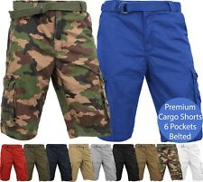 Mens PREMIUM CARGO SHORTS Belted Pants Outdoor Twill Cotton Loose Fit Pockets