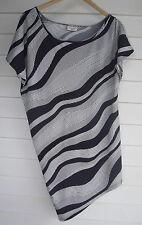 Crossroads Women's Black & White Stripe Pattern Top with Uneven Hemline - Size M
