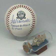 Fernando Valenzuela signed Rawlings Dodgers 60th Logo Baseball Inscribed A1445