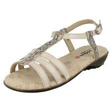 Ladies Padders Wide Fitting Sandals Pearl Beige 8 UK