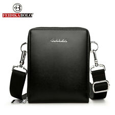 New Men Bags Leather Double Zip Male Messenger Bags Small Crossbody Shoulder Bag