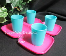 Tupperware New TupperToys Kids Mini Play Set 4 Pink Plates 4 Blue Tumblers