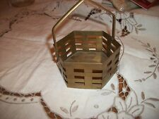 """Brass 6 Sided Basket - 3 1/4"""" Wide - Made in India"""
