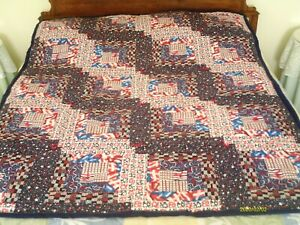 "51"" x 64"" Large - Stars and Stripes - Quilt/Throw (Cotton/Flannel) - New"