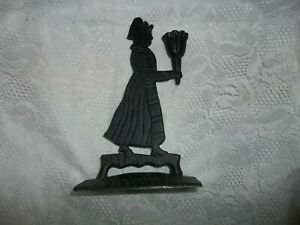 Colonial Girl Black iron candle holder - FREE SHIP!