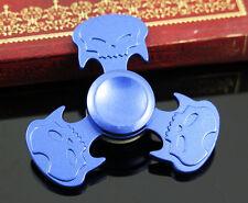 Hot Sales Toy Skull Metal Fidget Hand Tri-Spinner Finger Gyro blue Kids/Adult D