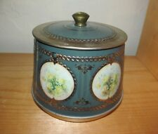 VTG Round Green DECORATIVE candy cookie TIN with LID FLORAL Yellow ROSES BRAZIL