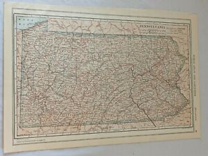 """Antique 1915 Two-Sided Color Map of Pennsylvania & Philippines 10x15"""""""