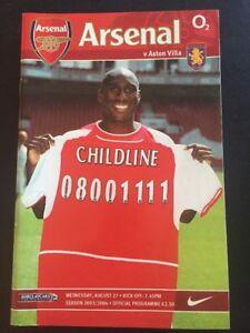 """Arsenal """"49 Unbeaten"""" Home V Aston Villa 27/08/2003 Game 5 Invincibles"""