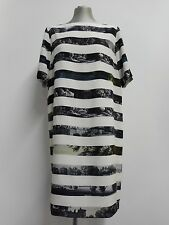 Beautiful Dries Van Noten silk shift dress ivory stripe & drawing print 44 UK16