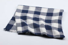 100% Cotton Oversize Blanket Scarves Shawl Wrap Navy Blue White Plaid Men Women