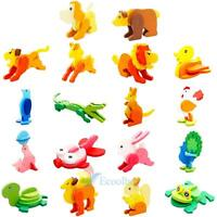 Baby Development Toddler Intelligence 3D Wooden Puzzle Toy Animal Brick Classic